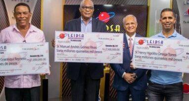 LEIDSA entrega 36 millones a tres nuevos millonarios